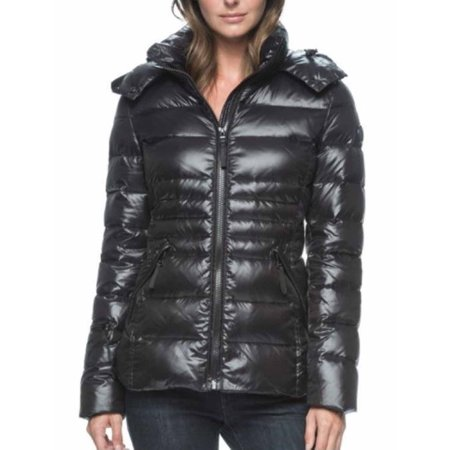 Andrew Marc Womens Down Puffer Jacket with Detachable Hood (Black, XX-Large)