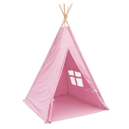 Best Choice Products 6ft Kids Cotton Canvas Indian Teepee Playhouse Sleeping Dome Play Tent w/ Carrying Bag, Mesh Window -