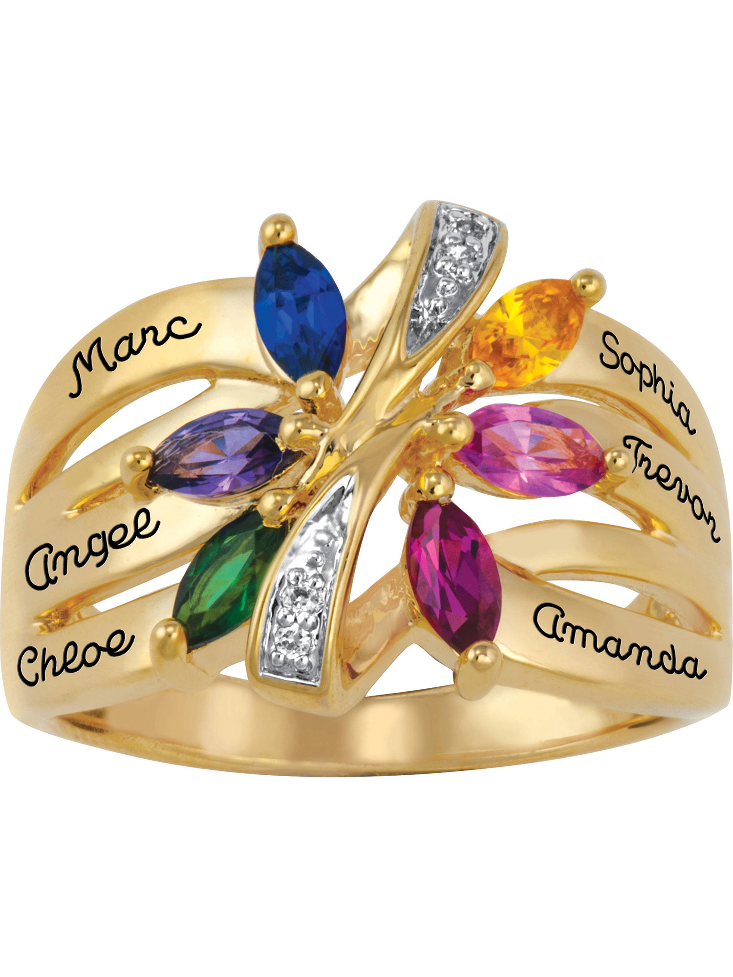 Keepsake Personalized Family Jewelry Women's Bouquet Ring with Birthstones available in Sterling Silver and Gold