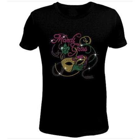 Bling Rhinestone Cute Mardi Gras Party T-Shirt-SC-MSK-036](Mardi Gras Socks)