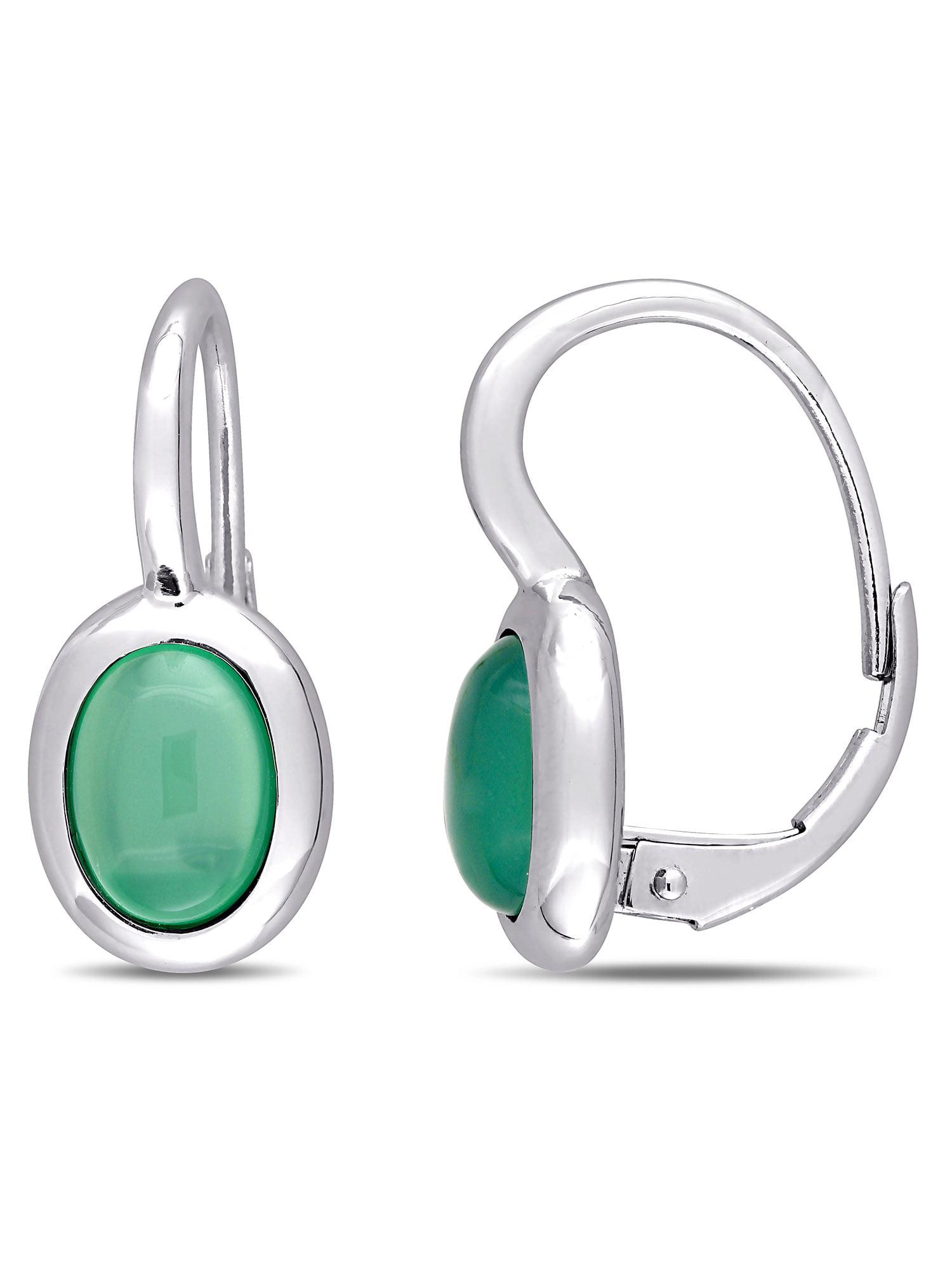 Tangelo 2-1 2 Carat T.G.W. Green Chalcedony 10kt White Gold Earrings by Delmar
