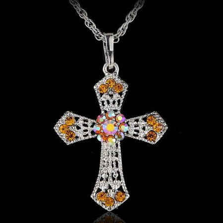 KABOER Silvery Tone Religious Cross Pendant Necklace Aquamarine Crystal Rhinestones Necklace Aquamarine Religious Cross
