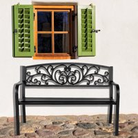 Ejoyous 50  Iron Outdoor Courtyard Decoration Park Leisure Bench, Courtyard Bench, 50'' Bench