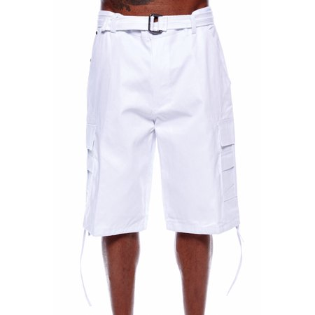 MENS BASIC BELTED CARGO SHORTS BIG MENS PLUS SIZE URBAN HIP HOP LONG SHORTS - Plus Size Men