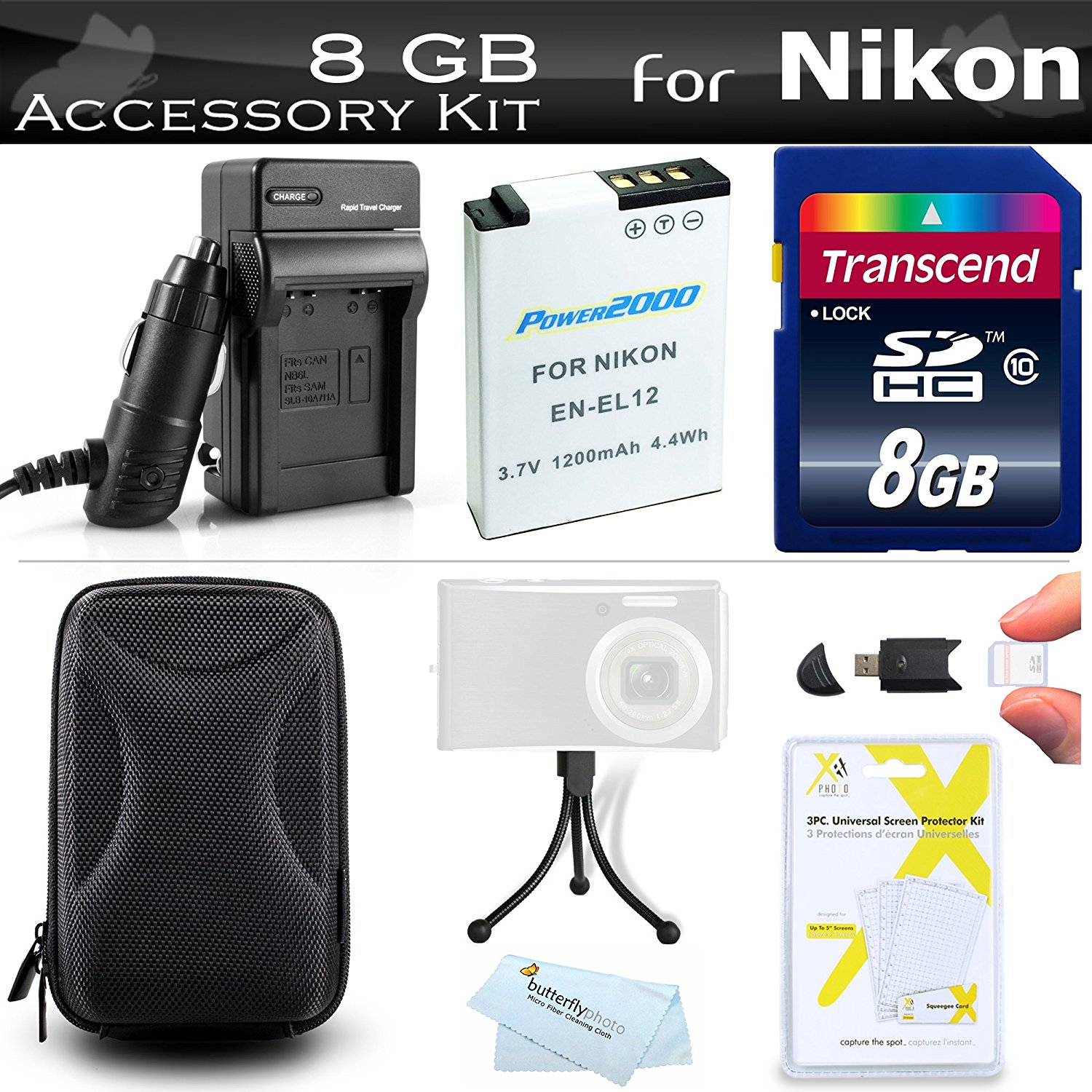 8GB Accessories Kit For Nikon Coolpix S9900, A900, S9700,...