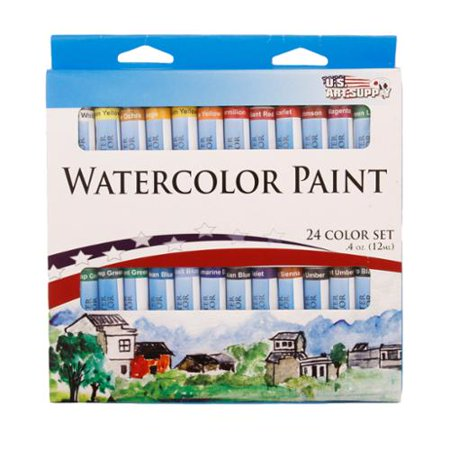 24 Color Set of Watercolor Paint in 12ml Tubes - Vivid Colors Kit for Artists, Students,