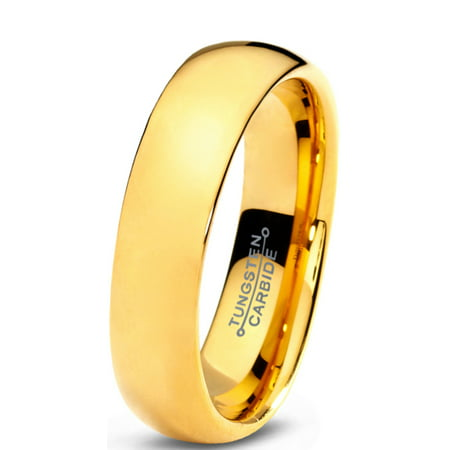 Charming Jewelers Tungsten Wedding Band Ring 5mm for Men Women Comfort Fit 18K Yellow Gold Plated Plated Domed Polished Lifetime Guarantee