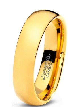 Product Image Charming Jewelers Tungsten Wedding Band Ring 5mm for Men Women Comfort Fit 18K Yellow Gold Plated