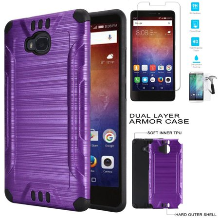 info for 3b8cb f5e47 Phone Case For AT&T Huawei Ascend XT GoPhone (H1611, 6464A) Tempered Glass  Screen Protector with Brush Textured Dual-Layered Cover (Combat Brush ...