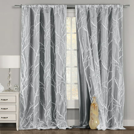 One Piece 1 Gray And White Window Curtain Panel Tree Branch Design Double Layer 54 W X 84 L