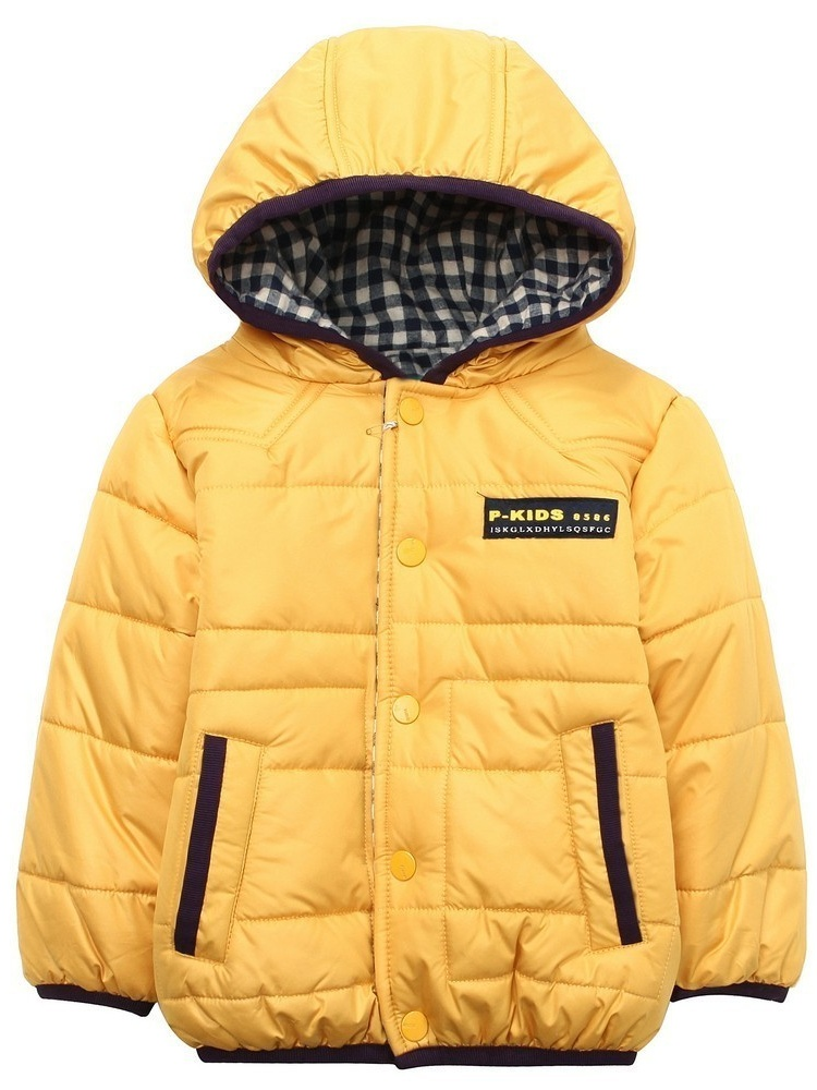 Richie House Little Boys Yellow Fleece Lining Hooded Padding Jacket 1/2