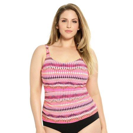 4b6faa2aeae2d Christina - Christina D-Cup and Up Plus Size Tankini Swim Top - Pink -  Walmart.com