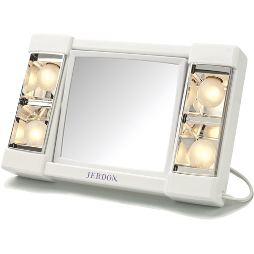 "Jerdon 6"" Portable Tabletop 2-Sided Swivel Lighted Makeup Mirror with 3x Magnification, White"