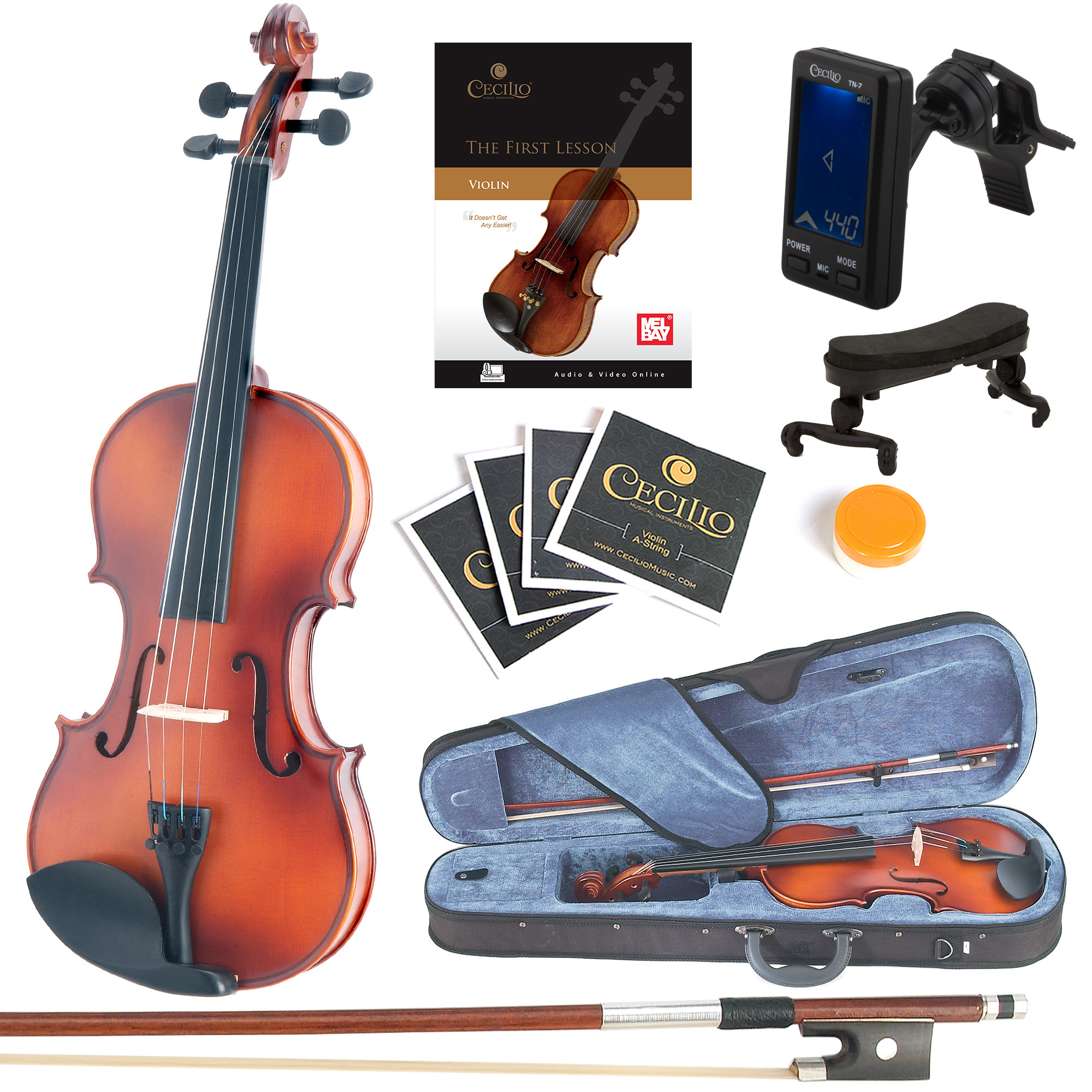 Mendini Full Size 4/4 MV300 Solid Wood Violin w/Tuner, Lesson Book, Shoulder Rest, Extra Strings, Bow, 2 Bridges & Case, Satin Antique Finish