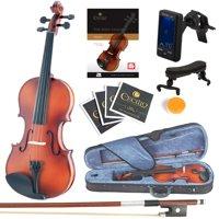 Mendini Full Size 4/4 MV300 Solid Wood Violin w/Tuner, Lesson Book, Shoulder Rest, Extra Strings, Bow, 2 Bridges & Case, Satin Antique Finish