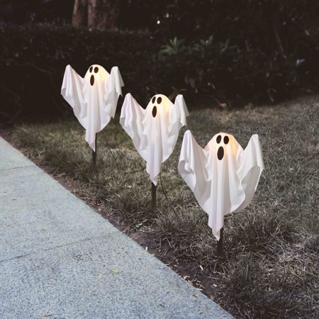 Halloween Yard Stakes.Ghost Fabric Halloween Lawn Stakes Set Of 3 Halloween Decoration