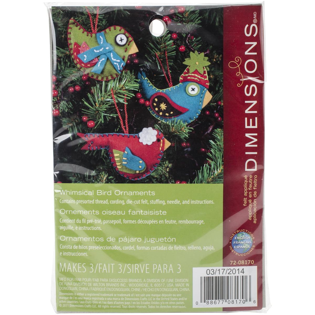 "Dimensional Felt Ornaments Applique Kit 2.75""X4.75"" Set of 3-Whimsical Birds"