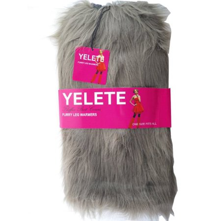 Lady's Furry Leg Warmers - Yelete Fluffy Boot Cover (Brown) - Cheap Furry Leg Warmers