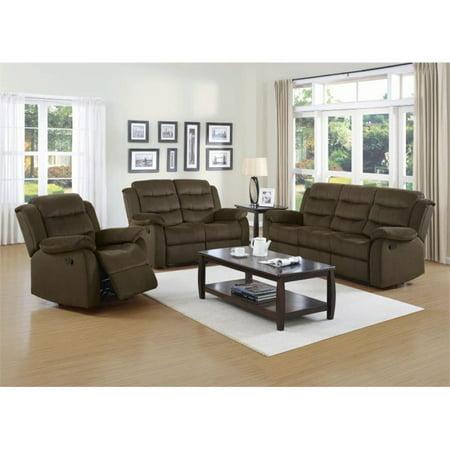 Coaster Rodman 3 Piece Reclining Sofa Set in Two Tone -