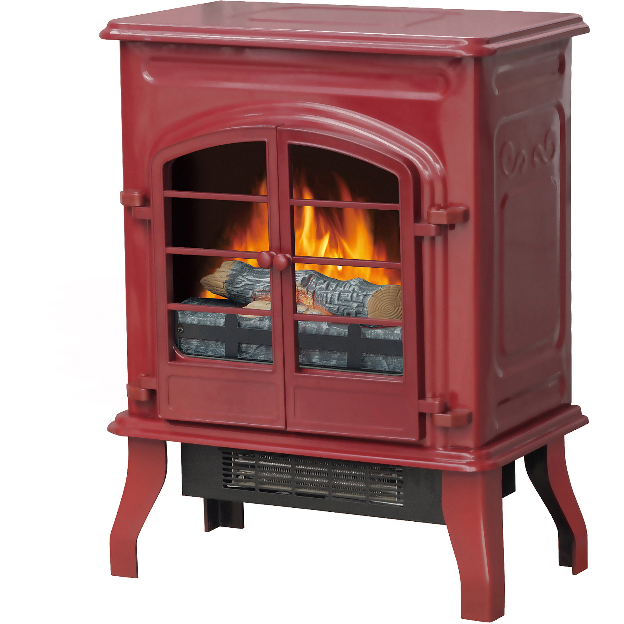 "Electric Stove Heater, 17.5"" Glossy Red"