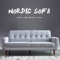 Upholstered Tufted Fabric Sofas, 9.6''x33.4''x 34.6'' Mid-Century Sectional Sofas with Medium Soft Cushions, Grey Linen Loveseat Sofa Beds with Solid Wood Frame and Wood Leg for Small Space, S5182