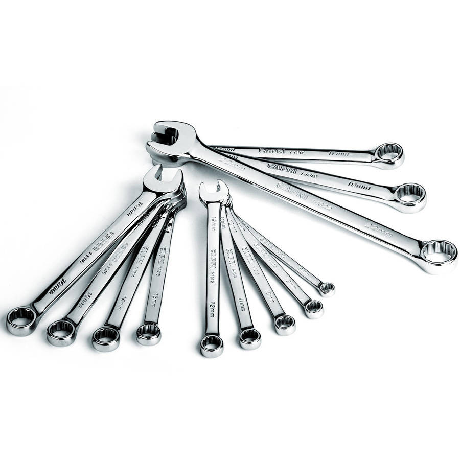 Capri Tools SmartKrome Combination Wrench Set, 12-Piece, Metric 8 to 22 mm, Heavy Duty Canvas Pouch