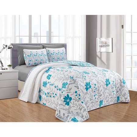 Decotex 6 Piece Leah Printed Blooming Flowers Oversize Quilt Bedspread Coverlet Set (Turquoise/Gray, (Discount Bedspreads)