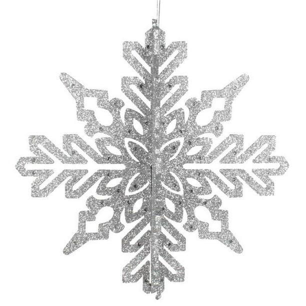 Vickerman M187407 9 In Silver 3d Glitter Snowflake Christmas Ornament 2 Per Bag Walmart Com Walmart Com
