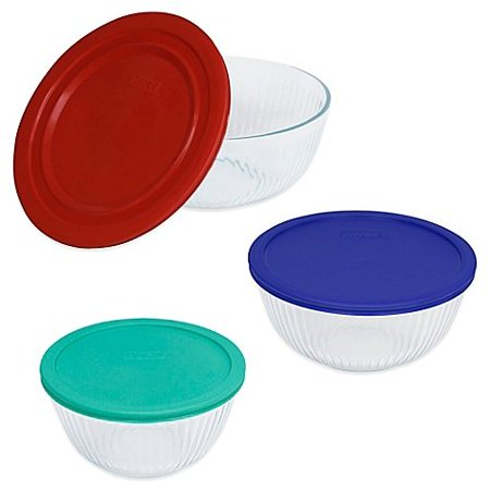 3 Piece Glass Mixing Bowls with Multi-color Lid Set, Refrigerator, Microwave and Oven Safe, The Pyrex 3-Piece Glass Mixing Bowls with Lids.., By Pyrex