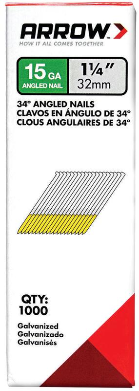 "Arrow 15 GA 1-1 4"" Galvanized 34� Angled Nails 1000 ct Box by Arrow Fastener Co., LLC"