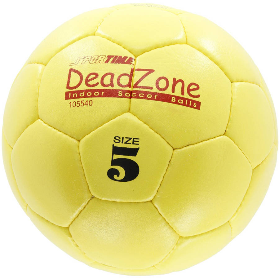 Sportime Size 5 DeadZone Indoor Soccer Ball, Yellow