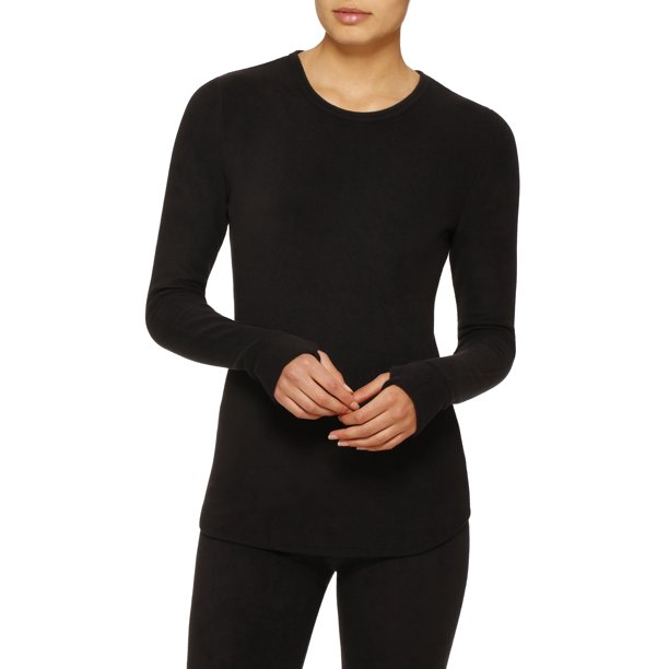 ClimateRight by Cuddl Duds Women's and Women's Plus Stretch Fleece Warm Underwear Long Sleeve Top