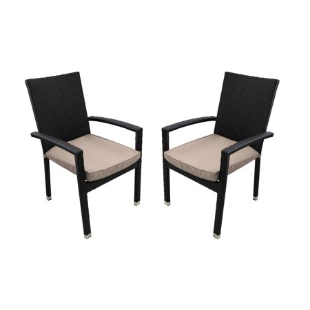 set of 2 black resin wicker outdoor patio furniture dining chairs