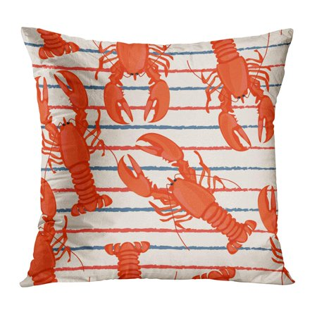 ECCOT Seafood Retro Lobster Color Cooking Crab Drawing Food Pillow Case Pillow Cover 16x16 inch