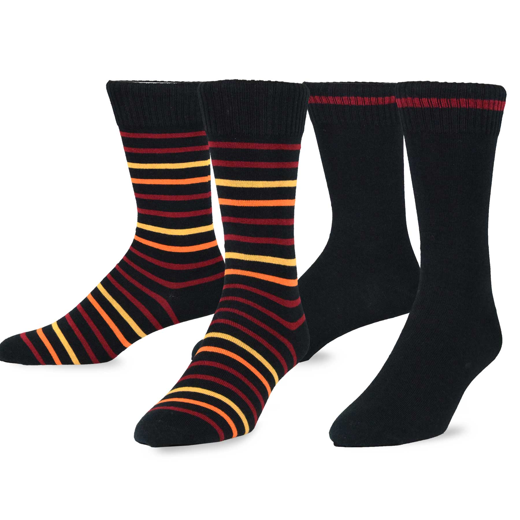 TeeHee  Combed Cotton Men's Crew Socks 2-pair Pack Narrow Stripes & Plain