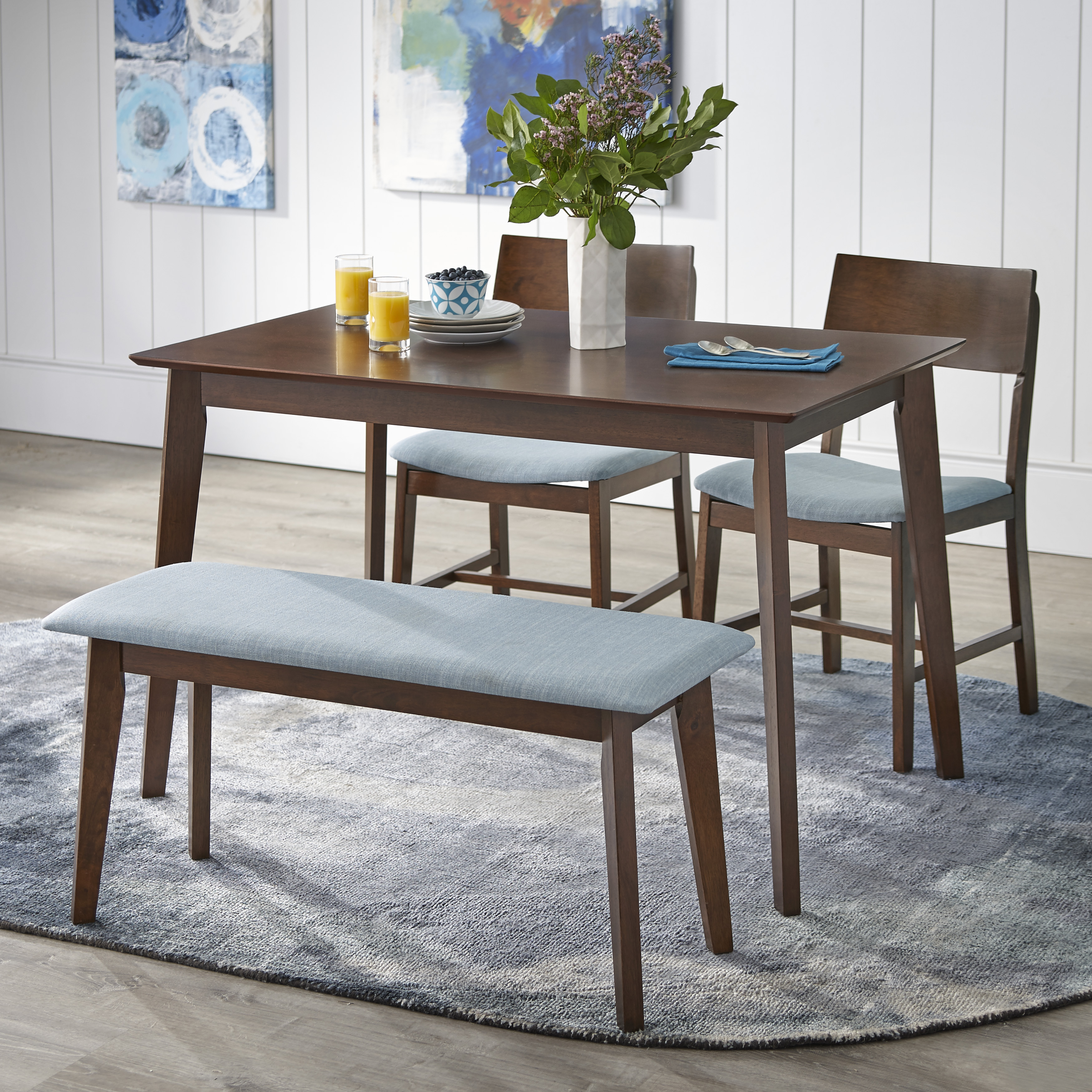 TMS Tiara 4 Piece Mid Century Dining Set with Bench, Multiple Colors