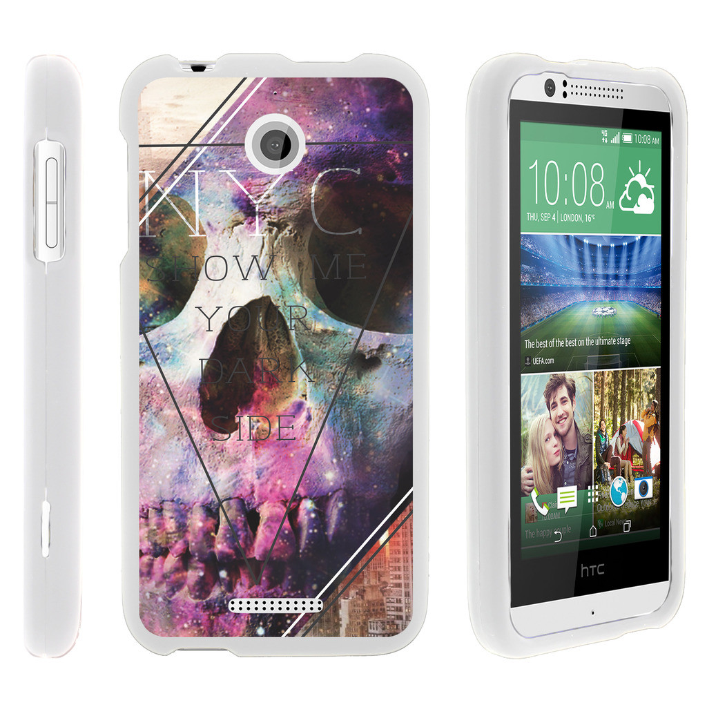 HTC Desire 510, [SNAP SHELL][White] 2 Piece Snap On Rubberized Hard White Plastic Cell Phone Case with Exclusive Art - Your Dark Side
