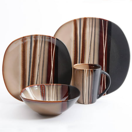 Better Homes & Gardens Bazaar Dinnerware, Brown, Set of 16