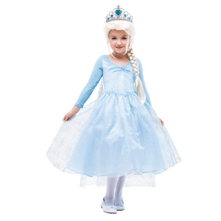Girls Princess Costume Snow Queen Party Gown Dress with Crown](Queens Crown Costume)