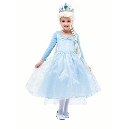 Princess Crown Costume (Girls Princess Costume Snow Queen Party Gown Dress with)