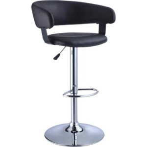 Powell Barrel Adjustable Height Swivel Bar Stool, Black Faux Leather and Chrome by Powell