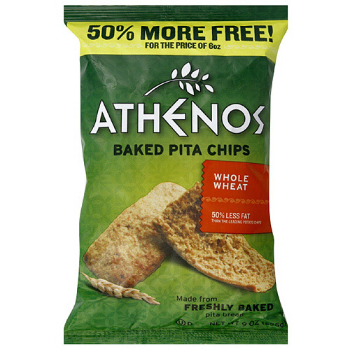 Athenos Whole Wheat Baked Pita Chips, 9 oz  (Pack of 12)