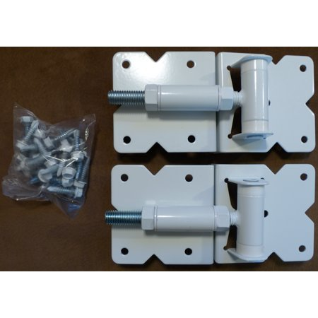 Vinyl Gate Hinges WHITE (for Vinyl, PVC etc Fencing) Vinyl Fence Gate Hinges w/Mounting Hardware - Vinyl Gate Hinges have a 90 Degree Bracket Resulting in a Positive Hinge to Gate Connection - Fence Gate Hardware