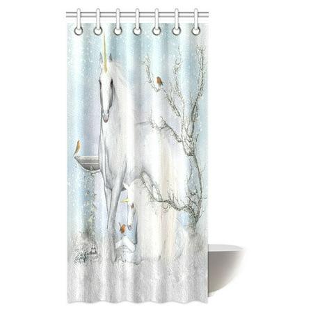 Mypop Teen Girls Shower Curtain Fantasy Unicorn Winter