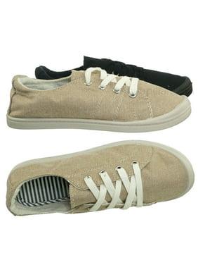 Comfort01 by Forever Link, Vintage Flexible Rubber Sneaker - Women Canvas Comfort Bendable Shoes