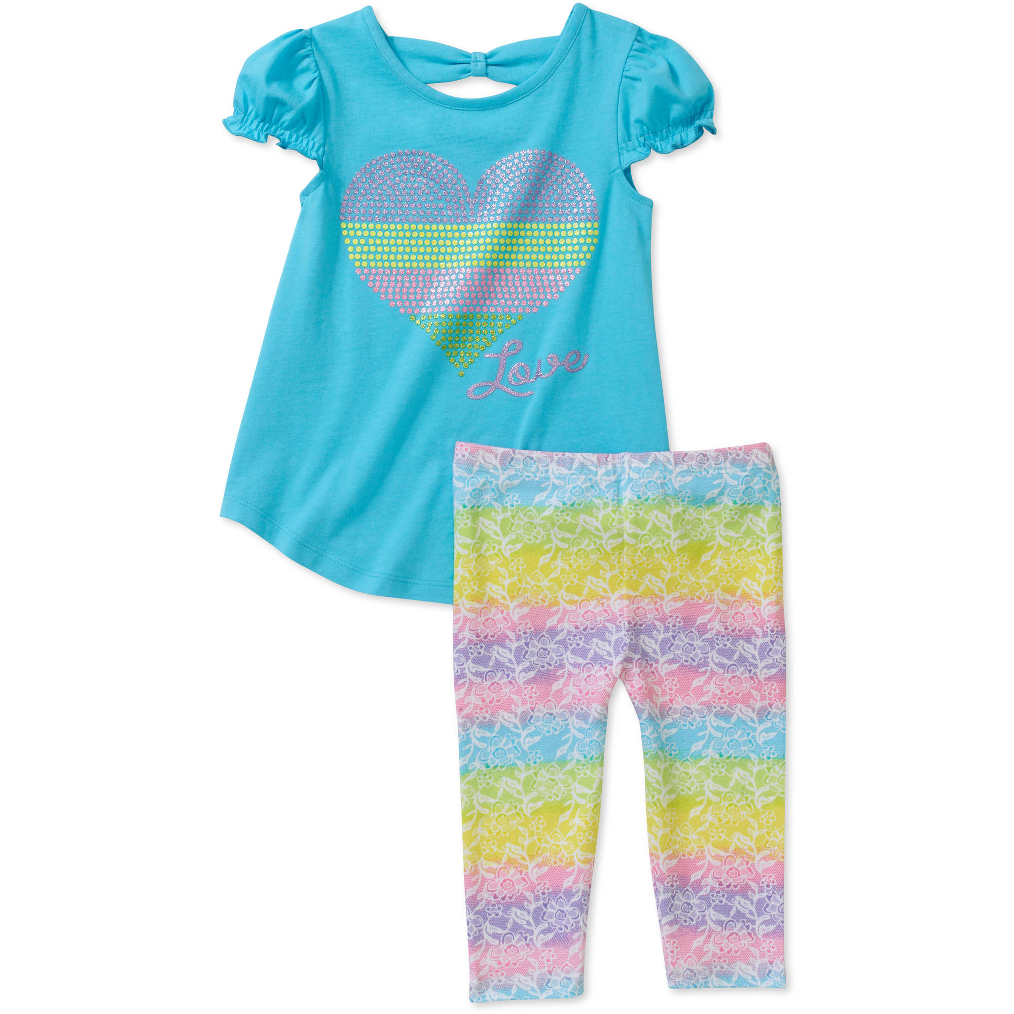 Healthtex Baby Girls' 2 Piece Glitter Tunic and Pant Set