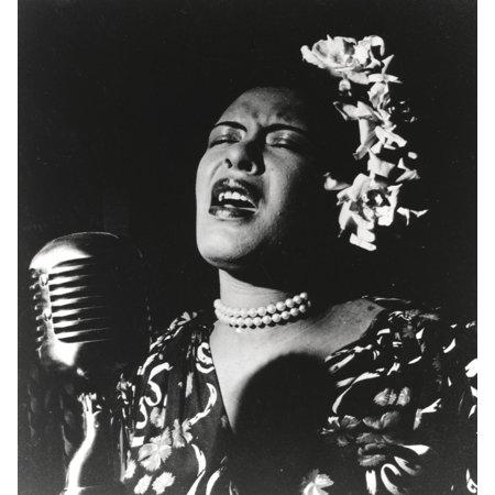 Billie Holiday singing in Black Dress with Flower on Head Portrait Photo Print