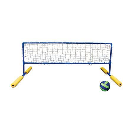 blue and yellow super water or swimming pool volleyball net and ball