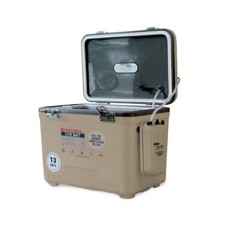 Ht Ice Fishing Gear - Engel 13 Quart Insulated Live Bait Fishing Outdoor Cooler With Water Pump, Tan