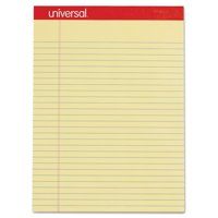 Universal Perforated Writing Pads, Wide/Legal Rule, 8.5 x 11.75, Canary, 50 Sheets, Dozen -UNV10630